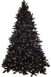 10 Foot, Pre Lit Artificial Christmas Tree, Black, Clear Full