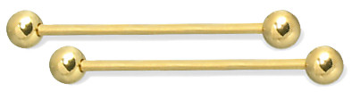 10 GAUGE - 14K Gold Extra Long Straight Barbells