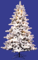 12 Foot, Pre Lit Artificial Christmas Tree, Mesabi, Flock Clear