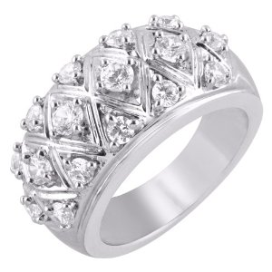 14K White Gold 1 ct. Diamond Fashion Ring