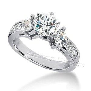 14K White Gold Round & Princess Cut Diamond Promise Engagement