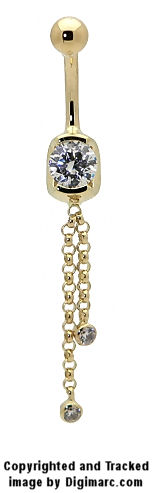14k Gold Partial Bezel Curved Barbell with 2 Chain Bezel Dangle