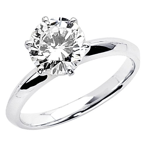 14K White Gold Round-cut CZ Cubic Zirconia Engagement Ring