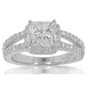 2.01 ct. TW Princess Cut Diamond Engagement Ring in Platinum.