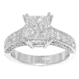 3.40 ct. TW Princess Diamond Engagement Ring in 18 kt.