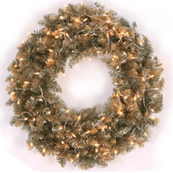 30 Inch, Prelit Artificial Christmas Wreath, Champagne, Clear