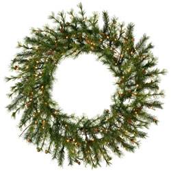60 Inch, Dura-Lit Christmas Wreath, Mixed Country Rustic, Pine