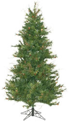 7.5 Foot, Unlit Christmas Tree, Mixed Country, Pine Cones, Slim