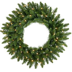 84 Inch, Dura-Lit Artificial Christmas Wreath, Camdon Fir, Clear