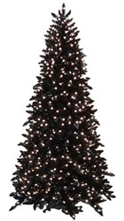 9 Foot, Pre Lit Artificial Christmas Tree, Black, Clear Slim
