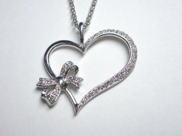 Big One Side Paved Heart with Ribbon Motif Necklace