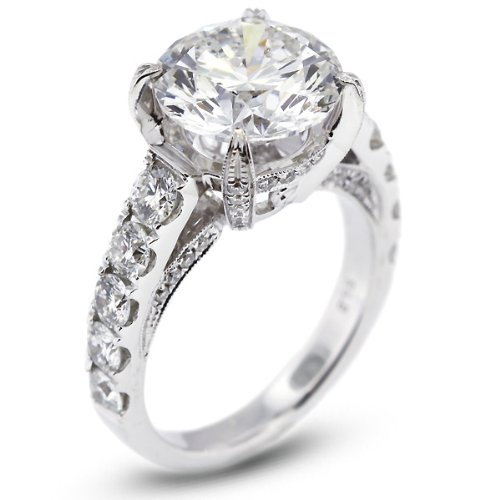 7.81 Carat Certified Diamond 18k Gold Engagement Ring
