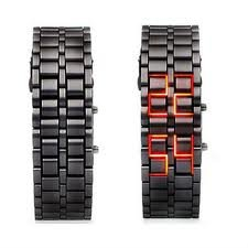 Black Stainless Steel Lava RED LED Digital Bracelet Watch