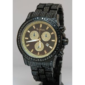 Joe Rodeo Watches Mens Black Diamond Watch Pilot 27.70ctw