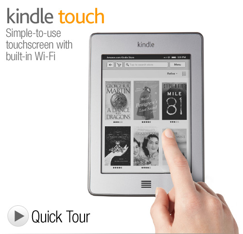 Kindle Touch - Touchscreen e-Reader- Wi-Fi, 6'' E Ink Display