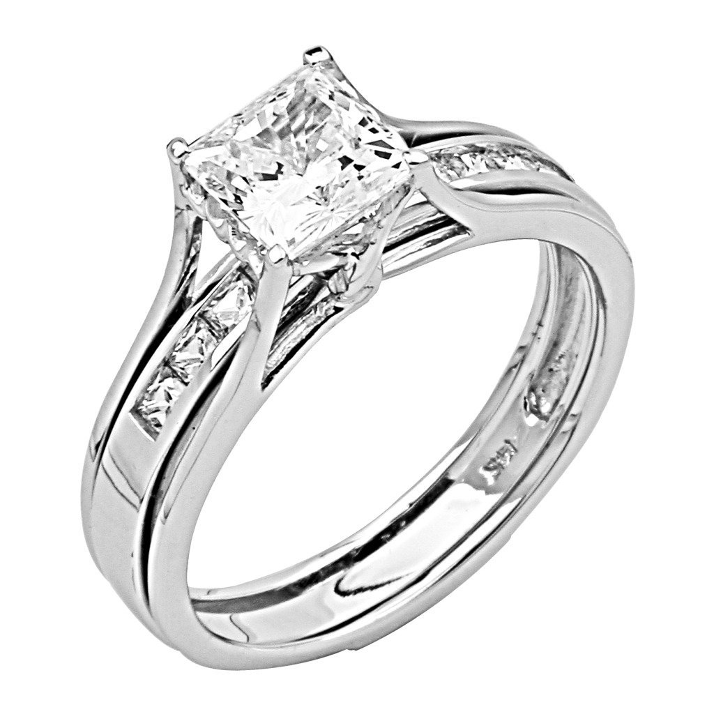 14K White Gold Princess-cut CZ Cubic Zirconia Engagement Ring