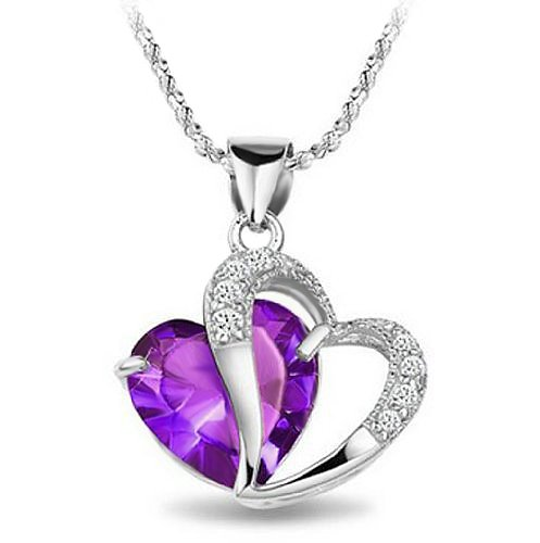 Rhodium Plated 925 Silver Diamond Accent Amethyst Necklace