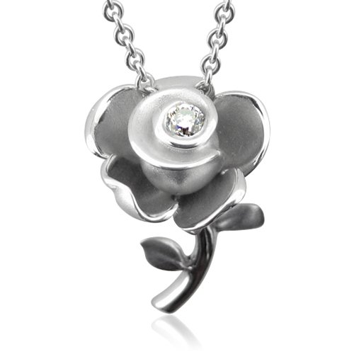 Sterling Silver Rose Flower Diamond Pendant Necklace 0.12 carat