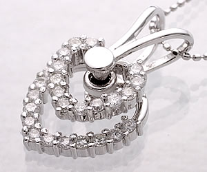 Swing Double Diamonds Heart 18-K White Gold Necklace